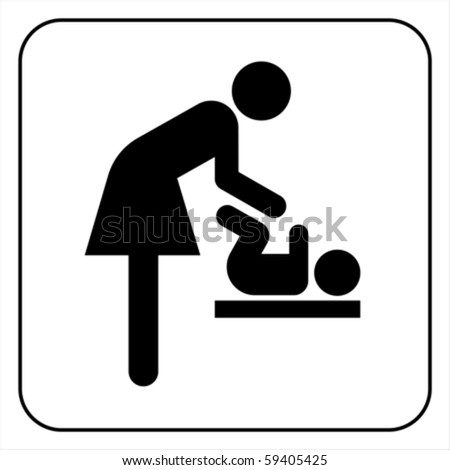 symbol for women and baby, baby changing isolated on white, vector  - stock vector