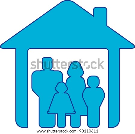 symbol happy family with people silhouette in blue house - stock vector