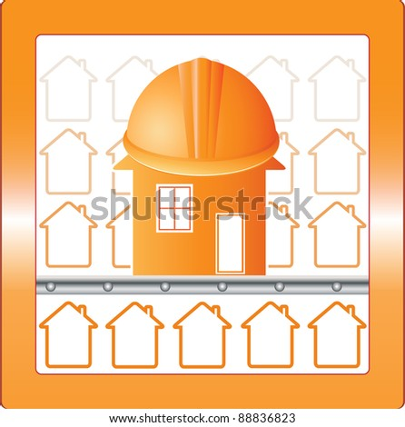 symbol house in safety with protection helmet