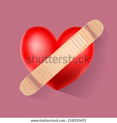 symbol of a heart with bandage - stock vector