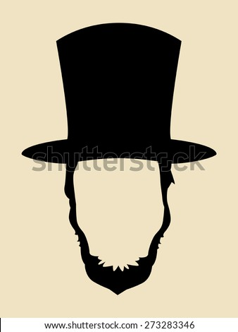 Symbol of a man with beards wearing 19th century hat - stock vector