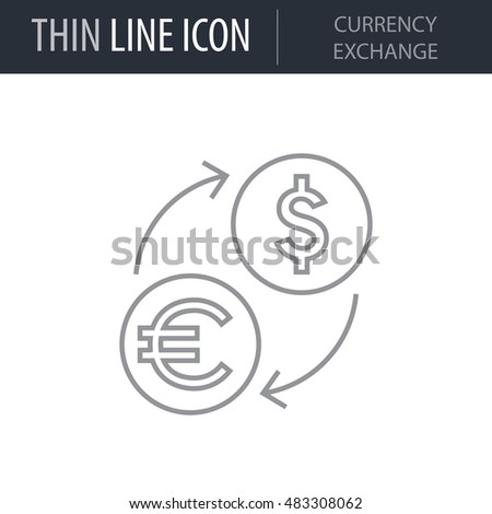Symbol Currency Exchange Thin Line Icon Stock Vector 483308062