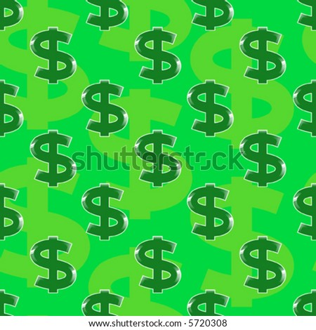 symbol of dollar - seamless vector wallpaper - stock vector