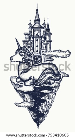 Symbol of dream, magic. Medieval castle and fairy tale unicorn tattoo and t-shirt design