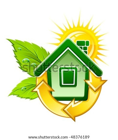symbol of ecological house with solar energy vector illustration, isolated on white background - stock vector