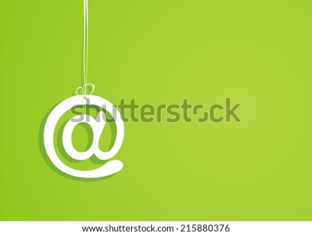 Symbol of email. Green background. Vector illustration.  - stock vector