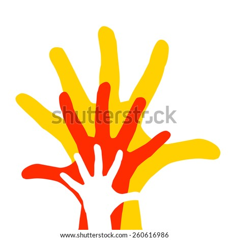 Symbol of family holding hands. Vector - stock vector