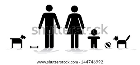 Symbol of family with child and pets - illustration