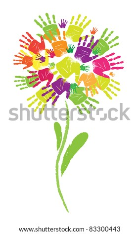 Symbol of  flower prints of palms and fingers. - stock vector
