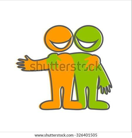 Symbol Friendship Icon Happy Friends Vector Stock Vector 326401505