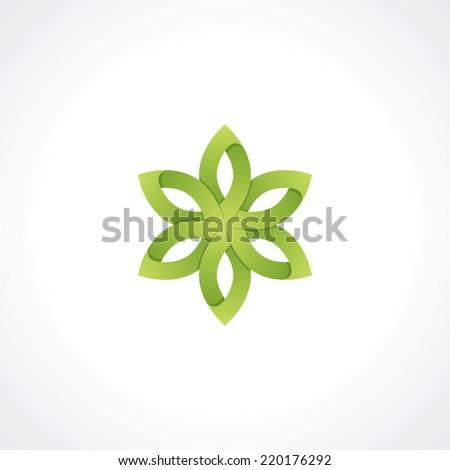symbol of green flower. vector design element. eps10 - stock vector
