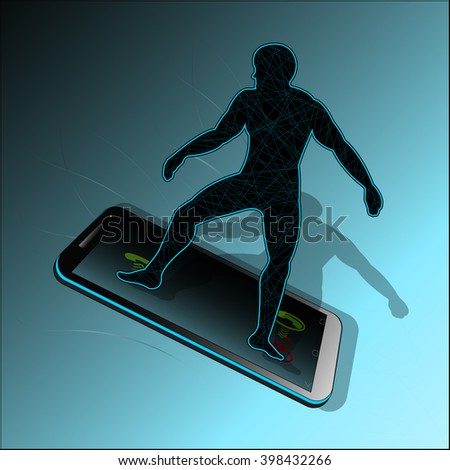 Symbol of high-speed, mobile communication between people. Vector illustration.