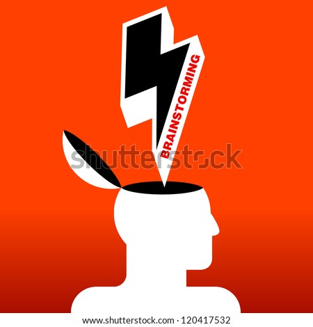 symbol of human head brainstorming - stock vector