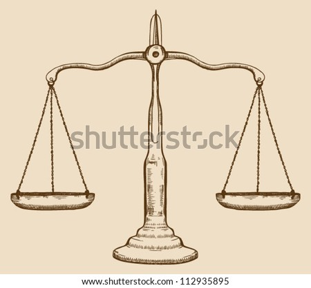 Symbol justice draw scale old vintage stock vector for Free scale drawing software