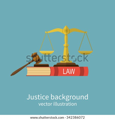 Symbol of law and justice. Concept law and justice. Scales of justice, gavel and book. Vector illustration flat design. For web banners, promotional materials, presentation templates - stock vector