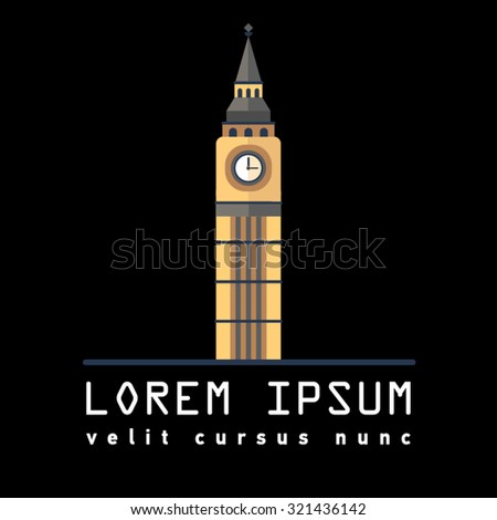 Symbol of London tower Big Ben. Great Bell of the clock of the Palace of Westminster. England Destinations. Elizabeth Tower. Prominent symbols - stock vector