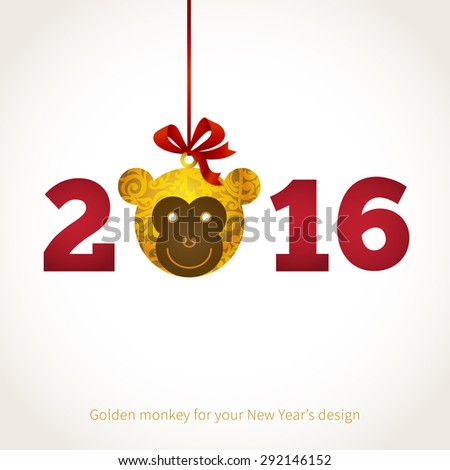Symbol of 2016. Monkey head, decorated gold floral patterns. Vector element for New Year's design. Illustration of 2016 year of the monkey. - stock vector