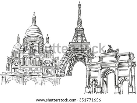 Symbol of Paris - the Eiffel Tower and other monuments - stock vector