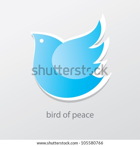 Symbol of peace and love - bird of peace. Vector sign. - stock vector