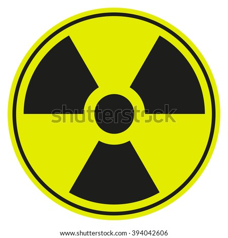 symbol of radioactive contamination with highlights on a black background, danger