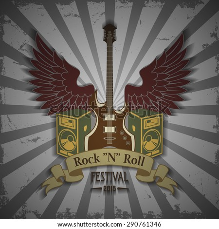 Symbol of rock festival - stock vector