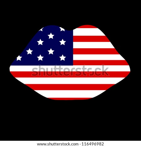 Symbol of the American flag in the form of lips - stock vector