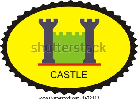 symbol of the ancient fortress, old traditional logotype - vector ilustration - stock vector