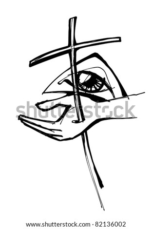 symbol of the crucifixion and God's eye, illustration vector - stock vector