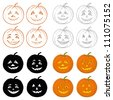 Symbol of the holiday Halloween pumpkins Jack O Lantern on white background, set: icons, shapes, silhouettes, cartoons. Vector - stock photo