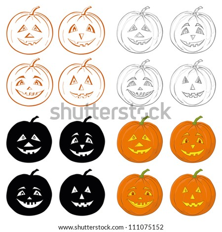 Symbol of the holiday Halloween pumpkins Jack O Lantern on white background, set: icons, shapes, silhouettes, cartoons. Vector - stock vector