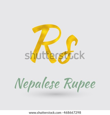 Symbol Nepalese Rupee Currency Golden Texture Stock Vector 468667298