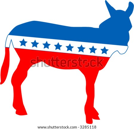 Symbol of the United State's Democratic party - fully editable vector drawing - stock vector