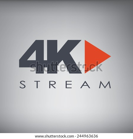 Symbol of Ultra HD streaming or playing video online content for screens and tvs with 4k resolution. Eps10 vector illustration. - stock vector