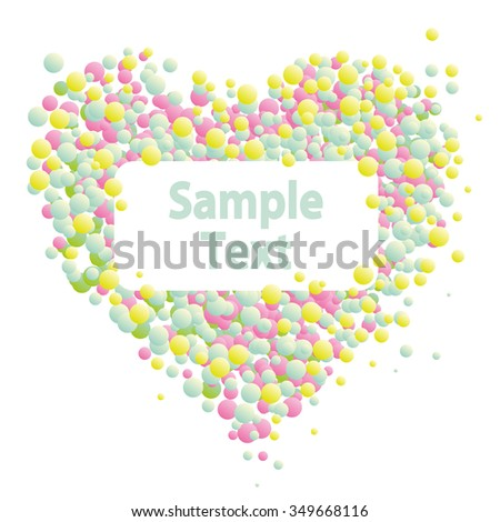 Symbol of Valentine's Day heart from circles no background, isolated object with empty place for an inscription, text, vector illustration card - stock vector