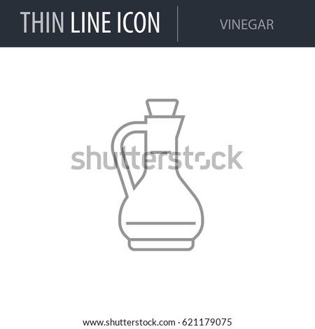 Symbol Vinegar Thin Line Icon Food Stock Photo Photo Vector