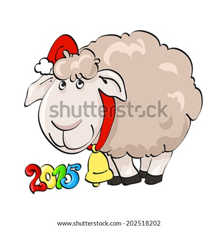 Symbol of year 2015. Lovely lamb in Santa's cap with yellow bell on the isolated white background. Illustration, vector - stock vector