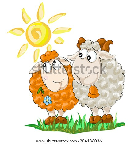 Symbol of year 2015. Two funny sheep on the isolated white background. Illustration, vector - stock vector