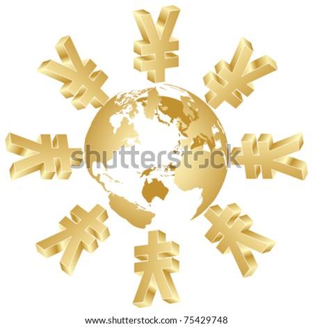 symbol of yen around the world - stock vector
