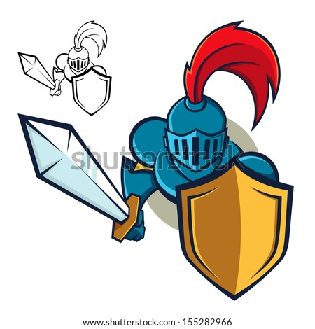 Symbol or icon of a knight holding shield and sword, vector illustration - stock vector