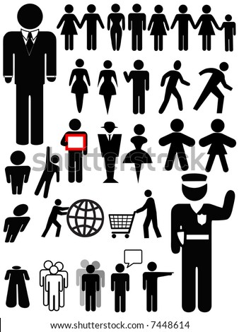 Symbol people silhouettes, a set of various persons: family; couple; walk, business, police officer, group, women, shopping... - stock vector