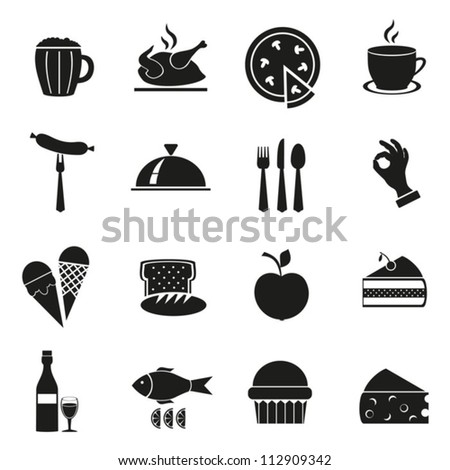 Symbol set of black color with food.Vector. EPS-10 (non transparent elements, non gradient) - stock vector