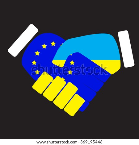 Symbol sign handshake European Union and Ukraine. Flag european and ukraine, eu cooperation with ukraine,  friendship nation. Vector art abstract unusual fashion illustration - stock vector