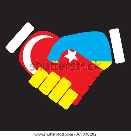 Symbol sign handshake Turkey and Ukraine. Flag ukraine cooperation friendship nation, handshake unity turkey, turkish politic. Vector art abstract unusual fashion illustration - stock vector