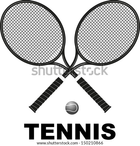 Symbol tennis rackets and ball in black color - stock vector