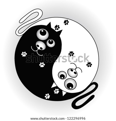 symbol yin yang with cats - stock vector