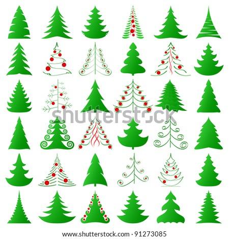 symbolic Christmas trees set - stock vector