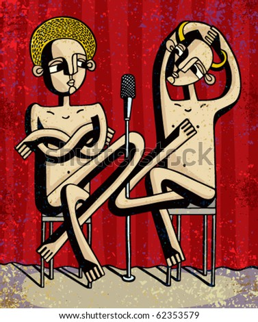 Symbolic debate illustration, angel and devil dragging the microphone on a stage, , saint and sinner, good and evil