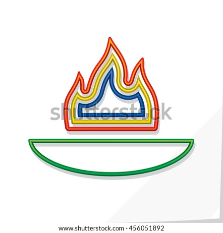 Symbolic Fire Made Colored Flame Shapes Stock Vector Royalty Free