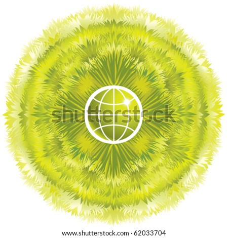Symbolic green eco world concept, grass growing around the earth, ecology design template - stock vector