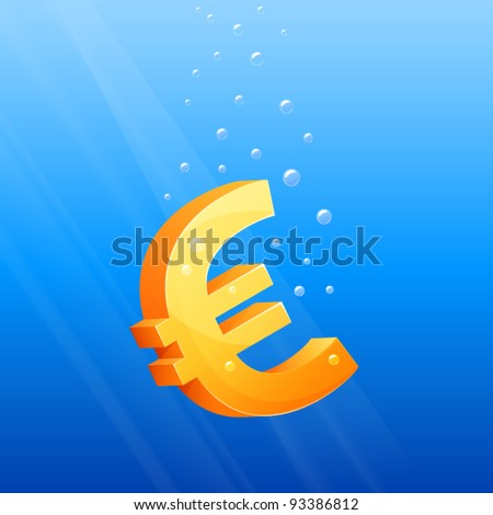 symbolic illustration of Euro currency sinking in the sea - stock vector